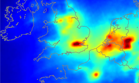 Air quality of The Netherlands and The United Kingdom as measured by the OMI instrument of NASA satellite EOS AURA. (image: KNMI)